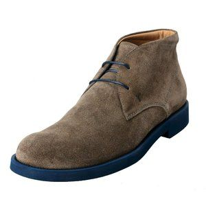Tod's Men's Suede Gray Polacco Lace Up Ankle Boots
